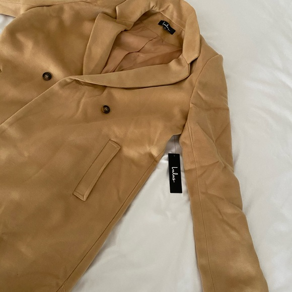 Lulu's Jackets & Blazers - Harriet Long Double-Breasted Tan Coat